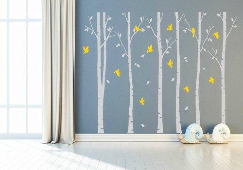 Seis Grandes árboles de abedul arte de pared vinilo Mural de pared adhesivo amarillo hojas para habitación decoración