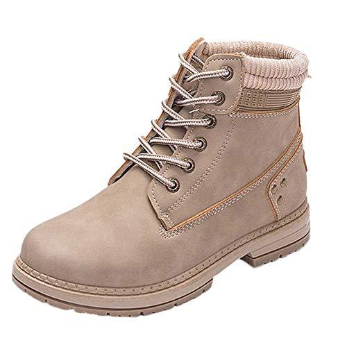 MOIKA Damen Boots Frauen-feste Schnürstiefel-beiläufige Stiefeletten runde Zehe-Schuhe Student-Schnee-Aufladungen(240/39,Khaki)
