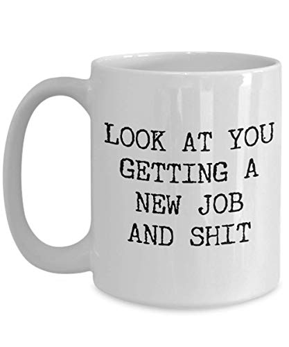 New Job Gift Coworker Goodbye Colleague Farewell Mug Congratulations Gift Ideas Look at You Getting a New Job Funny Coffee Cup 16 Oz Sip-top