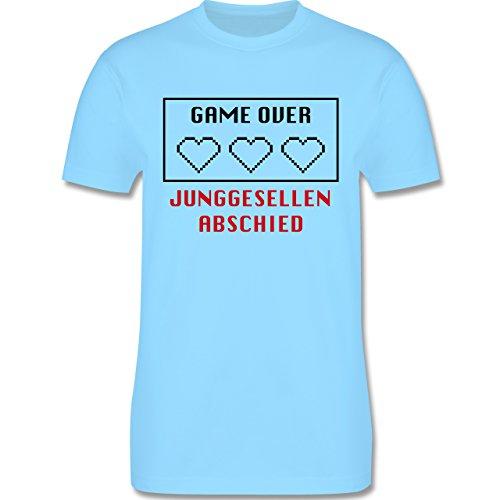 JGA Junggesellenabschied - Game Over Herzen - Herren Premium T-Shirt  Hellblau