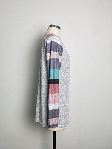 Donna Autunno Camicetta Scollo Rotondo Bluse Casuale Allentato Pullover Maglietta Felpa Top Maglia Manica Lunga Camicetta a Righe T Shirt Rosa