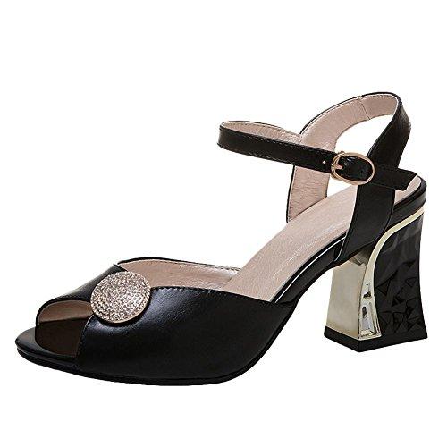 Mee Shoes Damen Blockabsatz Peep toe Slingback Sandalen Schwarz