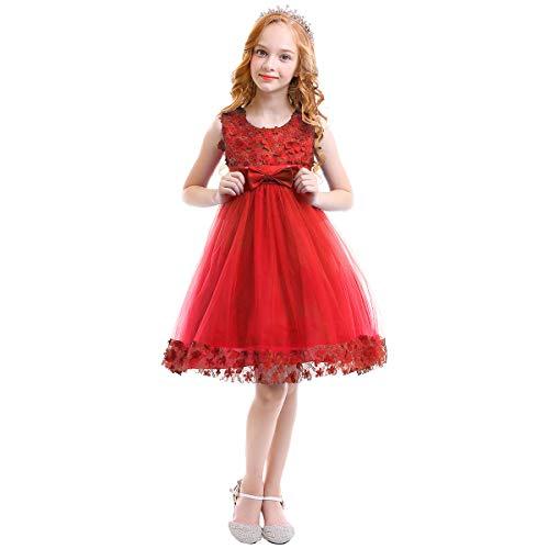 OBEEII Fille Robe Florale Longue de Cérémonie Élégante Robe Princesse sans  Manches de Mariage Demoiselle d be28c717101