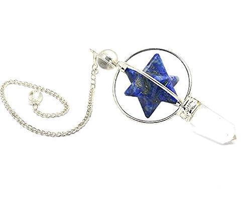 Cristaux de guérison Inde Lapis Merkabah étoile Cœur Cristal Dore Divinatoire de guérison Pendule