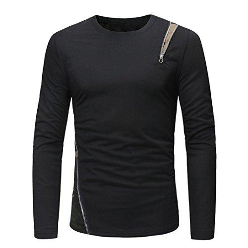 Baumwolle Zugeschnitten Bluse (ITISME TOPS Mode Herren Casual Sweatshirt Langarm Reißverschluss Patchwork Tops Bluse)