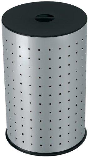 Hailo Wäschebehälter, Gehäuse aus Stahlblech, 42 Liter, rutschsicherer Kunststoff-Bodenring, stabiler Kunststoff-Sitzdeckel, made in Germany, 0744-121