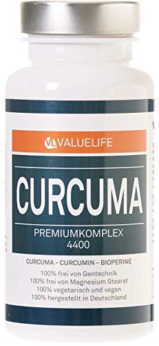 VALUELIFE Curcuma Komplex 4400: 95%-Curcumin & Kurkumapulver, Weihrauch, Myrrhe, Estragonextrakt,...