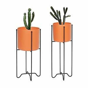 Vaso da fiori Vaso da fiori Supporto per fioriera da interno in metallo Soggiorno Balcone Decorazione Espositore Supporto da pavimento in piedi da esterno Erba Bonsai Ferro Semplice stile europeo (colore: arancione)