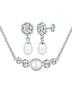 Perlu Damen Schmuckset mit Swarovski Kristallen 925 Sterling Silber Süßwasserzuchtperle