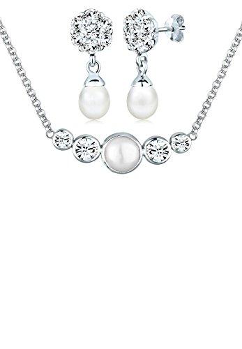 Perlu Damen-Schmuckset Brautschmuck 925 Sterling Silber mit Swarovski Kristallen Länge 45cm