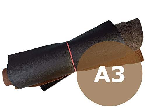 Lederreste Sortiert, 1000 g - Varianten von braunen Farbtönen - größer DinA3 von kiloleder.de