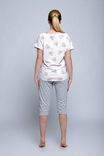 SENSIS trendiger Pyjama / Schlafanzug mit angesagtem Shirt und Hose, 100% Baumwolle, made in EU Grau/Rosa