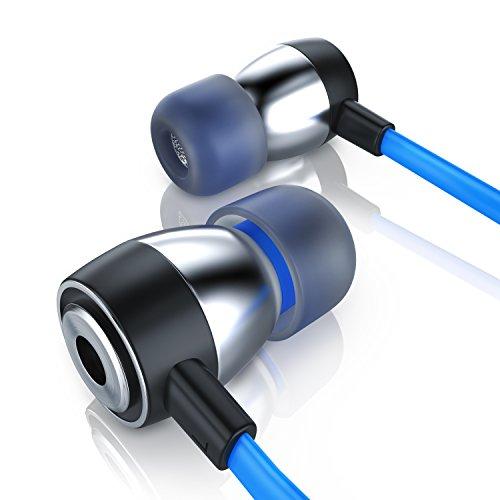 Bluetooth-ohr-stecker (CSL - In-Ear Kopfhörer Flat Style / Alu Flat Design Earphone | Transportmanagement / Hardcover | schwarz / blau)