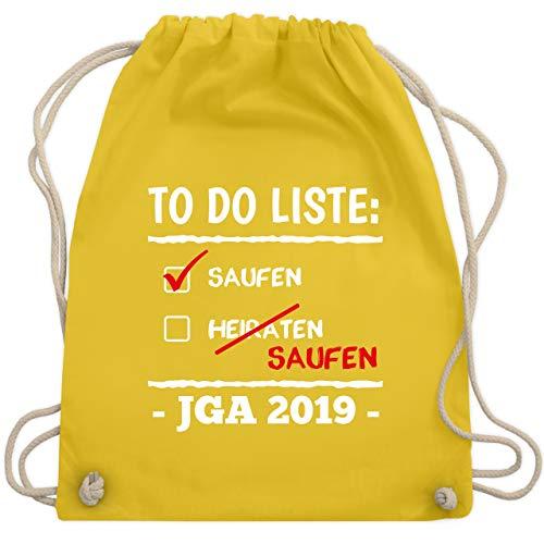 JGA Junggesellenabschied - To do Liste Saufen Heiraten Saufen JGA 2019 - Unisize - Gelb - WM110 - Turnbeutel & Gym - Liste Der Kostüm