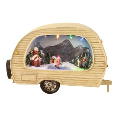 Weihnachtsdeko Wohnwagen/Camper mit Winter-Landschaft - LED beleuchtet - Weihnachtsdekoration - Häuschen Weihnachten - Weihnachtsdorf - Winter & Advent