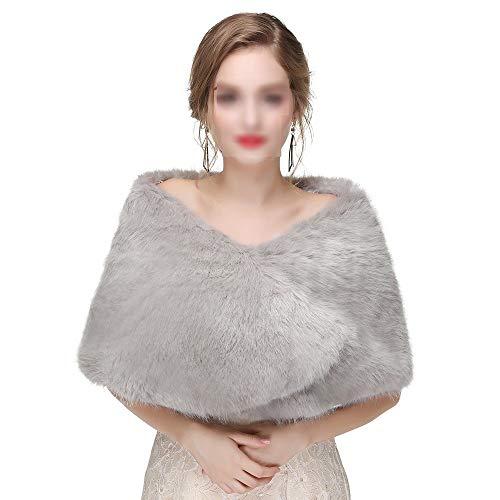 Le sciarpe delle donne avvolgono gli scialli, sciarpe da sposa da donna con scialle invernale da donna stole calde poncho per abito da cerimonia nuziale per abiti da sera (colore : grigio scuro)