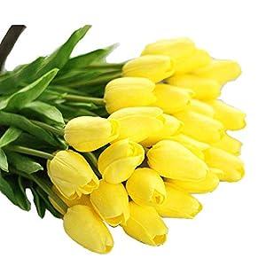 Sunshine D 10 Piezas Tulipanes Artificiales, Flores Artificiales de PU Tacto Verdadero Decoración Plásticas Tulipanes…