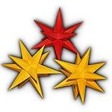 3er Set beleuchtete Sterne aus Papier 2x gelb 1x rot komplett, Sternschmiede
