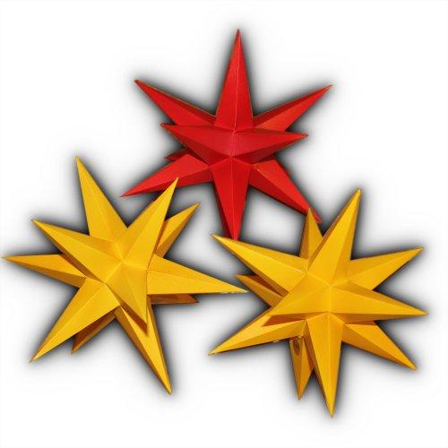 Preisvergleich Produktbild 3er Set beleuchtete Sterne aus Papier 2x gelb 1x rot komplett, Sternschmiede