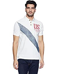 US Polo Association Men's Geometric Print Regular Fit Polo