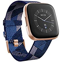 Fitbit FB507RGNV Versa 2 Special Edition Health & Fitness Smartwatch with Heart Rate, Music, Alexa Built-in, Sleep & Swim Tracking, Navy & Pink Woven, One Size (S & L Bands Included) (Navy & Pink Woven)