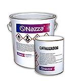 Revestimiento Epoxi Bicomponente Con Disolvente para Suelos | Acabado Brillante | Color Gris | Para el tratamiento de hormigón | Pintado de suelos de garajes, factorías y almacenes | 20 Kg + 5 Kg