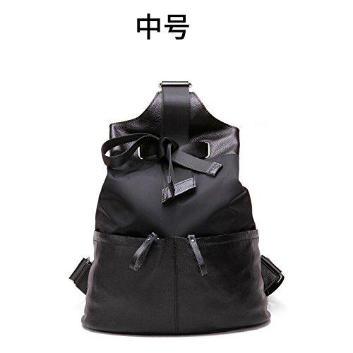 Female College vent Europe voyage étudiant sac en bandoulière sac à dos sac en nylon de grande capacité grand sac Black-medium
