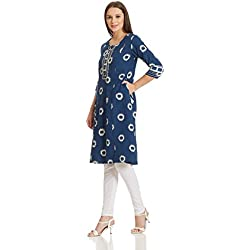 Rangriti Women's A-Line Kurta (RMMBLUE LOT2857_Blue_38)