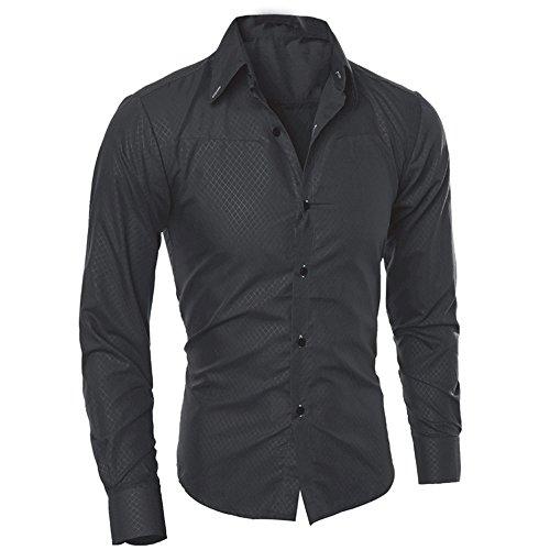 Camicia Uomo LandFox Slim Fit Tinta Unita Cotone Estiva Camicetta Stampata Moda Uomo Camicie Maniche Lunghe Casual Manica Lunga Camicia Uomo Bianca