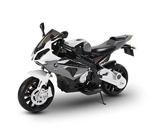 LT 832 Moto eléctrica para niños BMW asiento de cuero funcionamiento con llave - Gris