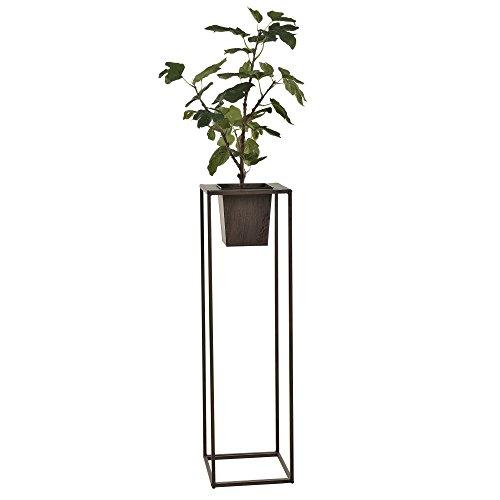 [casa.pro] Colonna fiori con vaso portafiori - 86 x 24 x 24 - metallo marrone scuro