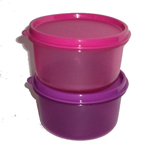 Tupperware Set Of 2 Replacemt 14 Ounce Dip Dish Containers In Purple And Pink