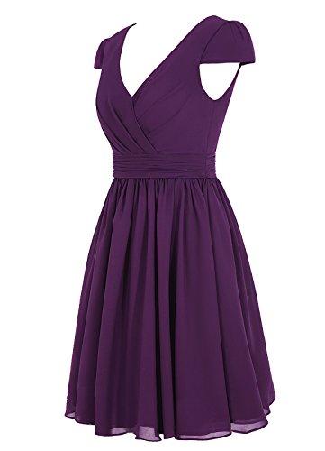 Dresstells, robe courte de demoiselle d'honneur mousseline manches courtes col en V Bleu