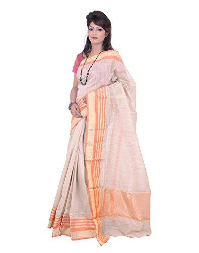 Banarasi Tusser Orange Super Net Cotton Silk Sarees for Women