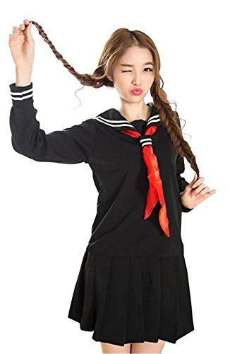 Nuoqi® Mädchen Langarm Schule einheitliche Kleid Marine Kostüme schwarz (XL, (Die Kinder Für Cheerleader Outfits)