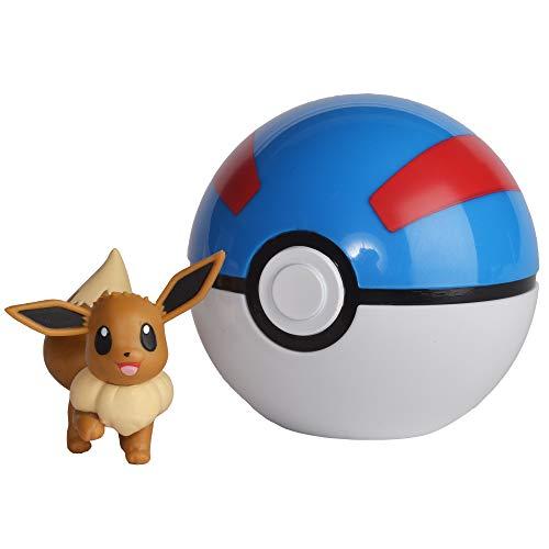 Pokémon 35923 MAUZI & FLOTTBALL, Spielset mit Original Pokemonfigur ca. 5 cm und Pokéball für Clip N Go Gürtel, Set mit Pokeball und Pokemon Figur für Pokemontrainer ab 4 Jahre, Trainer