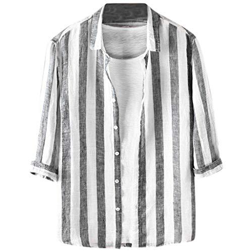 Bären Custom Schwarz T-shirt (UINGKID Herren T-Shirt Kurzarm Slim fit Die beiläufigen Streifen der Art- und Weisemänner Botton unten nehmen hawaiische Smokinghemd-Blusen-Oberseiten ab)