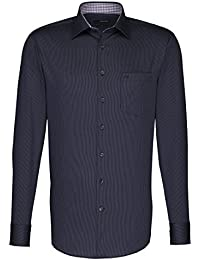Seidensticker Herren Langarm Hemd Uno Regular Fit schwarz / grau gestreift mit Patch 131036.38
