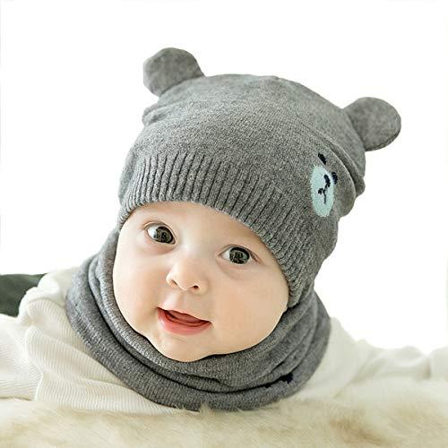 ADESUGATA Baby Kinder Winter Warm Gestrickter Mütze Schal Sets,Kleinkind Kinder Warme Beanie Mütze Weiche Baumwollkaps Schals Hüte für Baby Mädchen Jungen Säuglings Kinder 0-36 Monate (Grau)