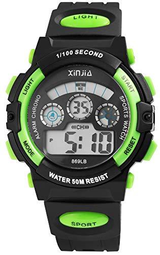 XINJIA - Reloj de Pulsera para Hombre (Digital, Fecha, Alarma, luz, plástico, Silicona, Cuarzo), Color Negro y Verde