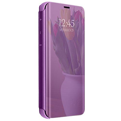Hülle kompatibel mit Galaxy A6 (2018) A6 Plus Spiegel Schutzhülle Flip Handy Case Tasche mit Standfunktion Business Serie Hart Case Cover für Galaxy A6 / Galaxy A6+ (Lila, Galaxy A6+ (2018)) -