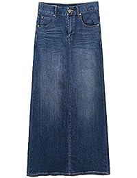 e50279ce7f51 ECOTISH Femme élégante à Manches Courtes A-Line Jupe Slim Fit Comfy Long  Denim Jupe