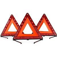 DEDC Kit de 3 Triángulo de Emergencia Coche Triángulo Reflectante con Estuche de Plástico y Bolsa de Almacenamiento Señalización Advertencia Emergencia