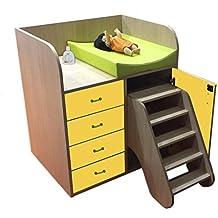 mobeduc cambiador con pasos y cajones, madera, amarillo, 90x 105x 70cm