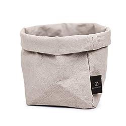 stil-macher Designer Krempelkorb - Gr. M - | Aufbewahrungskorb aus waschbarem Papier | Lederoptik | VEGAN | Deko-Box | Geschenkbox | Übertopf (Grau, Eckig)