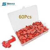 Senven®60Pcs Terminale Connettore Connettore Rapido Filo Serratura Scozzese, Connettore Connettore Filo Scozzese, Connettore Connettore Diramazione Rapido - 60pcs Rosso.