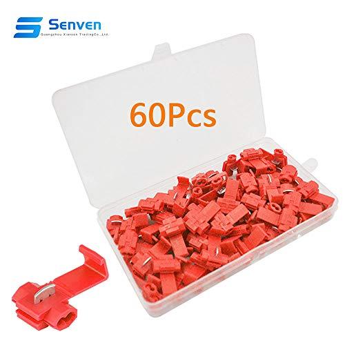 Senven® 60Pcs Premium Scottish Lock Wire Schnellkupplung Anschlussklemme, Schottische Lock Wire Connector Kit, Drahtverbinder, Schnellverbinder Abzweigverbinder -Rot 30Pcs