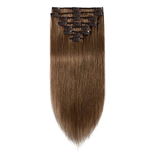 100% Remy-Echthaar Clip-In-Extensions für komplette Haarverlängerung 100g-45cm (#6 Hellbraun)