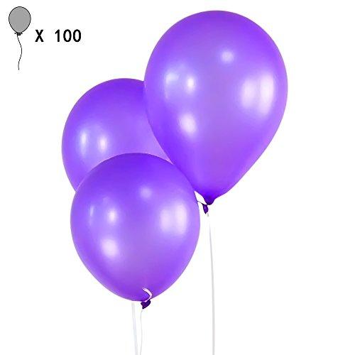 Gosear 100 Piezas 10 Pulgadas Globos Perla de Látex Espesor para Niños Decorativos Boda Cumpleaños Navidad Vacaciones Fiesta Partido,Oscuro Morado