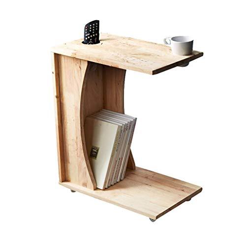 Tables basses en Bois Massif Petit côté Coin Salon Table d'appoint Meuble de Rangement Meuble Table de Chevet (Color : Beige, Size : 50 * 30 * 61cm)
